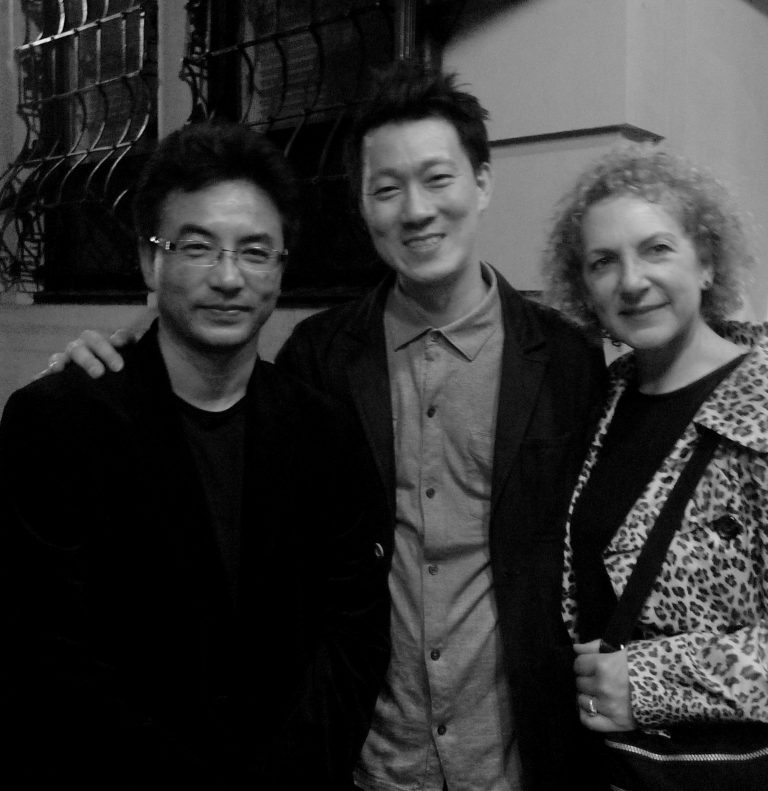 万玛才旦,藏族导演,与李启万,dGenerate电影副主席和Sally Berger, MoMA策展人一起,纽约,2014